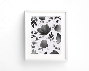 Floral Watercolor Print, Black and White Print, Digital Download, Watercolor Wall Art, Wall Prints, Most Popular Prints, Digital Poster