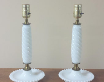 Twin Pair White Milk Glass Lamps