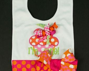 I'm ONE Birthday Bib Baby Girl MONOGRAMMED Bib Ribbon Bow Custom PERSONALIZED Cake Smash Birthday Bib Fuchsia Orange Lime Pink Made To Order