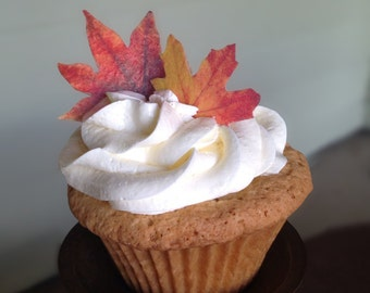 Double-Sided Edible Wafer Paper Fall Leaves for Cakes, Cupcakes or Cookies