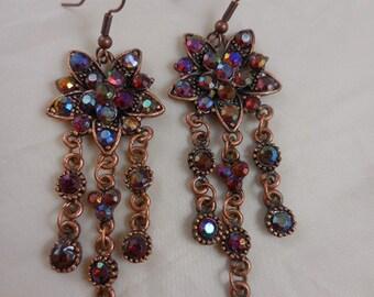 Copper Rhinestone Long Dangle Earrings