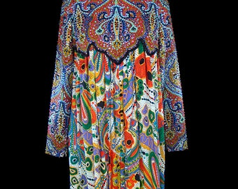 George Halley dress, vintage beaded jeweled 1960s avant garde, boho bohemian russian couture, op art  pattern, long sleeve, colorful