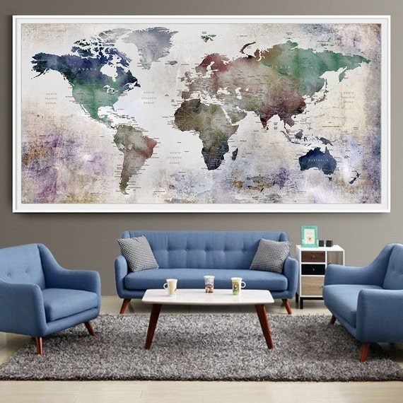 Large World Map Watercolor Push Pin Push pin travel world map