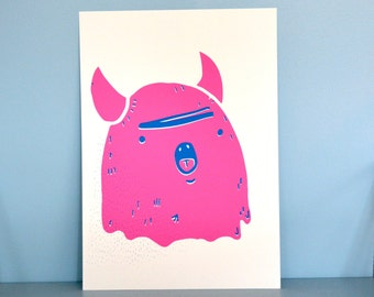 A4 Surprised Monster Screen Print Poster Limited Edition (A4, Pink or Purple) Art print / Graphic Print