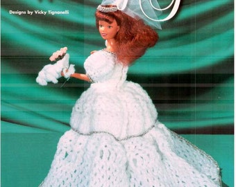 Fashion Doll Wedding Gown pattern crocheted in sport yarn, fits Barbie dolls. Design by Vicky Tignanelli, House of White Birches 101059.