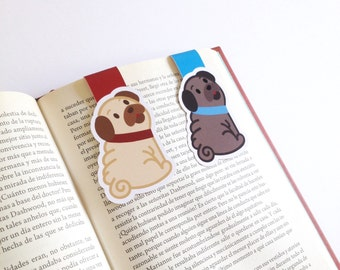 Pug Magnetic Bookmark -  Pugs  Bookmarks - Double Sided