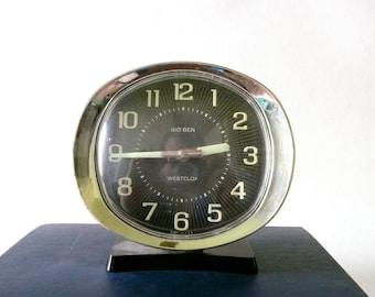 Black Mid Century Westclox Big Ben Alarm Clock