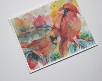 Cardinal Watercolor Print, Cardinal Picture, Bird Print, Bird Art, Cardinal Painting, Cardinal Image, Red Birds, Red Yellow Blue, 8x10 Inch