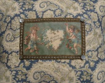 Victorian Cupid Cherub Happy Birthday Greetings Vintage Postcard Image Pillow