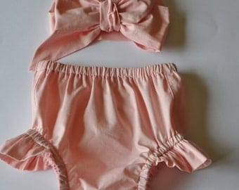 Diaper Cover Bloomers/ Matching Headwrap  - Puff Diaper Cover Pink