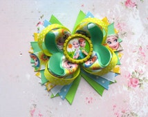 Hair ribbon bow Frozen fever hair clip Kids stacked bow Bottle cap bow Elsa Anna party favour Frozen birthday Disney characters Headwear