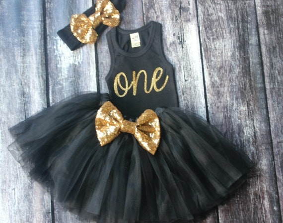 Black And Gold Dress Baby Girl Clothing First Birthday