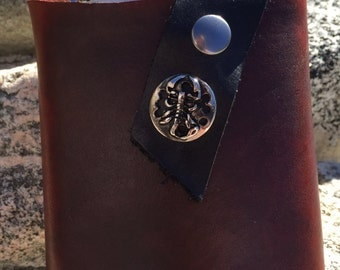 Flask and Leather Holster scorpion, Scorpio leather flask holster and flask, Scorpion Gift, steampunk gift