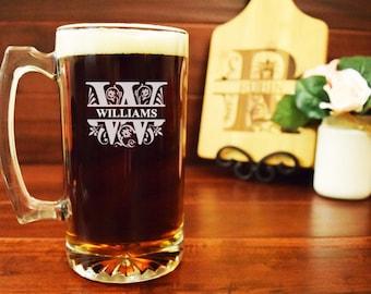 Engraved Beer Mug, Regal Split Letter, Monogrammed Beer Steins, Personalized Glasses, Gifts for Wedding, Personalized Beer Mug, Groomsmen