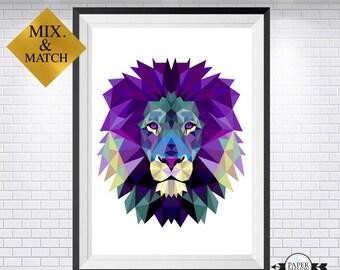 Lion print, lion art, lion wall print, Geometrical lion, lion face, Nursery print, wall prints,