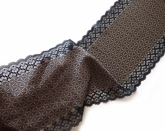Stretch Lace_elastic lace_black and gold color lace_wide lace_width 6,89 inch _17,5 sm_lace per metre_art-8038-beige