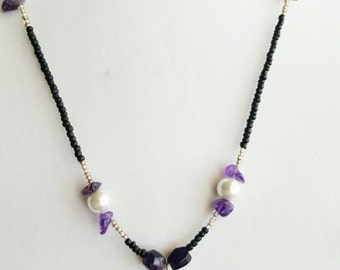 Amethyst & Freshwater Pearl Angel Wing Simple Necklace