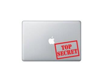 Top Secret, Macbook Decal, Macbook Stickers, Laptop Decal, Laptop Stickers, Car Window Decal, Car Window Stickers, Car Decal, Car Stickers