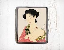 Japanese Woman Applying Make-up Print Cigarette Case - Metal Cigarette Case - Cigarette Case Wallet - Cigarette Box - Cigarette Holder