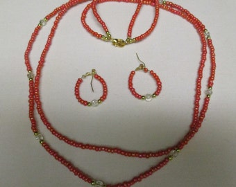 Peach beaded necklace with matching pierced earrings - # 376