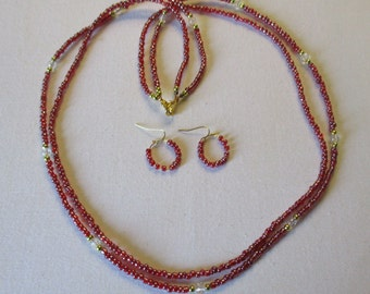 Raspberry beaded necklace with matching pierced earrings - # 348