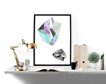 Geometric gem art print, modern illustration poster, abstract art print, home wall decor, minimal print, simple print, apartment wall art