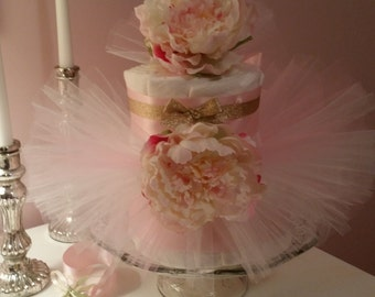Tutu Diaper Cake Pink and Gold With Peonies