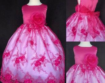 Flower girl dress fuchsia embroidery. Fuchsia flower girl dress. Fuchsia junior bridesmaid dress. Fuchsia girls dress.