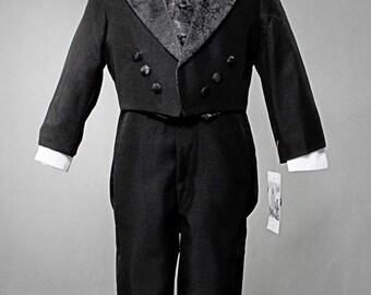 Boys Black Jacquard tuxedo 5 piece ring bearer tuxedo with tail. Boys 5 piece ring bearer tuxedo. Boys formal suit. Boys ring bearer tuxedo.