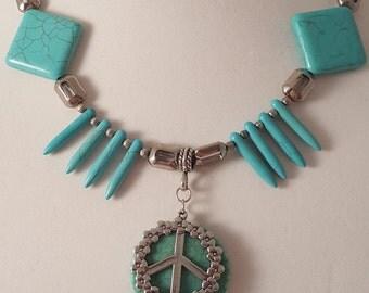 Turquoise Necklace - Flower - Woman's Necklace - Silver Necklace - Turquoise & Silver Necklace - Peace Necklace - Peace Flower Pendant