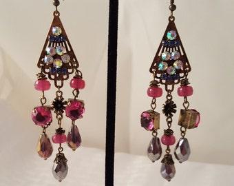 Women's Earrings - Purple Earrings - Purple Chandelier Earrings - Women's Purple Earrings - Bronze Earrings -Purple Dangle Earrings - Purple