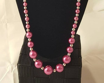Pearl Necklace - Pink Pearl Necklace - Glass Pearl - Glass Pearl Necklace - Pink Necklace - Women's Pearl Necklace - Women's Pink Pearls