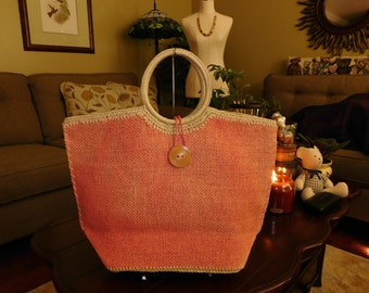 TALBOTS~Pink Woven Basket Bag Purse Tote