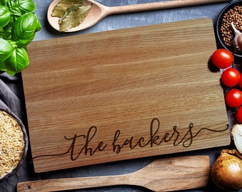 Custom Cutting Board, Home & Living, Personalized cutting Board,Wedding Monogram,  kitchen sign (158)