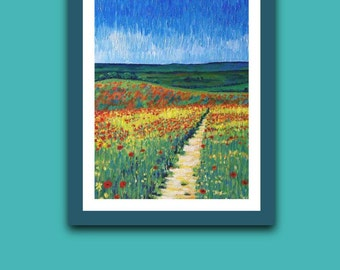 Poppy Meadow A4 art print, original artwork wall picture, signed unframed, impressionist style painting, mother's day gift