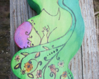 Mother's Love wooden wall hanging, breastfeeding art, doula or midwife gift, Mother's day gift