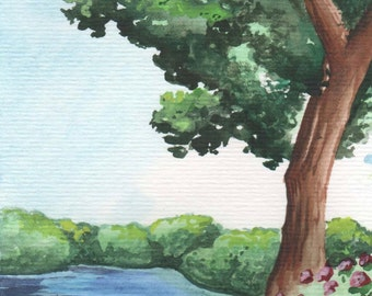 Tree besides the River | 4x6 Original Watercolor