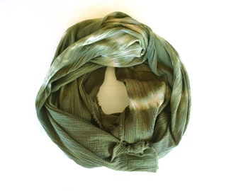 Olive Scarf, Blanket Scarf, Oversized Olive Scarf, Hand dyed Over-sized Scarf, Army Green scarf, Tie dyed Scarf, green Scarf, moss scarf