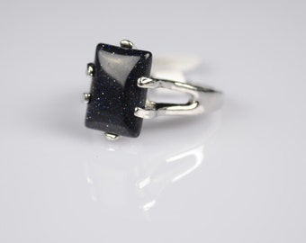 Black Onyx Stone Silver Gemstone Ring