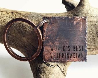 Veterinarian Keychain | World's Best Vet Stamped Square Aged Copper | Animal Lover | Vet | Doctor | Pets | Dogs | Cats | Vet Gift | Keychain