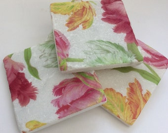 Pink and Yellow Tulips ~ 2 Marble Stone Coasters