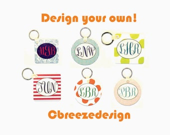 personalized key fob, initial key fob, custom key chain, new driver gift, monogram key fob, houndstooth car tag, gifts for her