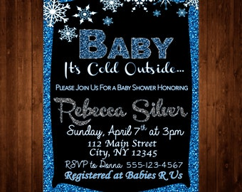 Baby Shower Baby Its Cold Outside Winter 5 x 7 Invitation Blue Glitter Sparkle Download Digital Printable PDF JPG