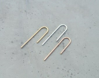 Minimalist Long Threader Earrings, Curved Asymmetrical Arches, Eco Reclaimed Sterling Silver or 14K Gold Fill, Trending MINIMETAL Jewellery