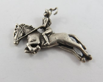 Equestrian Rider and Horse sterling Silver Charm or Pendant.