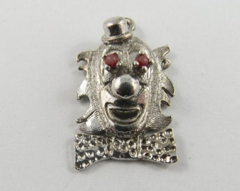 Clown Face with Hat and Bow Tie  Sterling Silver Charm or Pendant.