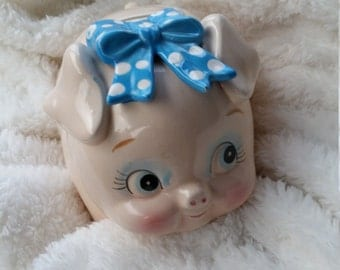 Vintage Lefton China Piggy Bank Designed With Blue Ribbon and Bow.