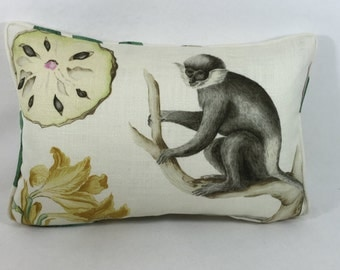 Sanderson Fabric Cushion Cover ~ 'Capuchins' Emerald ~ Linen Blend DVOY223272 Two Designs Or Buy The Pair