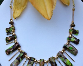 Multicolor Fan Necklace | Imperial Jasper Necklace | Statement Necklace | Colorful Necklace | Unique Necklace | Mosaic Necklace Gift for Her