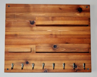 Wooden Key and Mail Rack